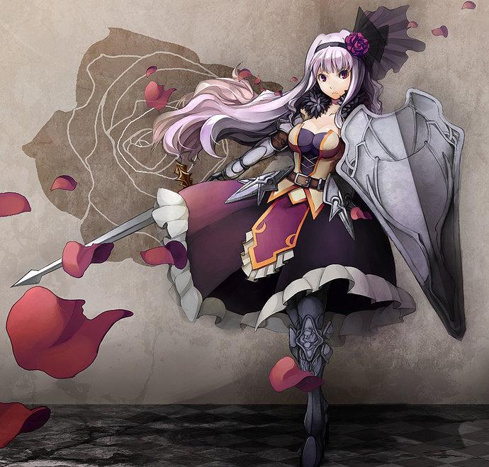 2340-1girl%20armor%20breasts%20cleavage%20flower%20headband%20large_breasts%20long_hair%20petals%20red_eyes%20rose%20shield%20silver_hair%20solo%20sword%20weapon%20pos%20shijou_takane%20idolmaster